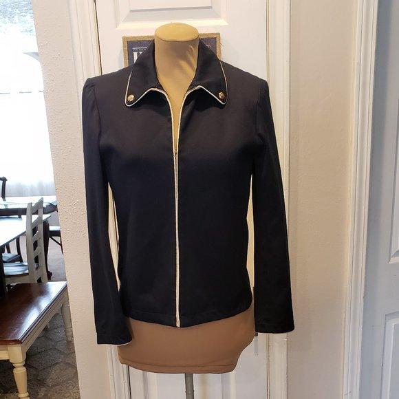 ST. JOHN Sport Marie Gray Navy Blue Blazer Jacket